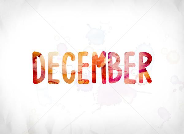 December festett vízfesték szó művészet színes Stock fotó © enterlinedesign