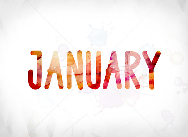 January Concept Painted Watercolor Word Art Stock photo © enterlinedesign