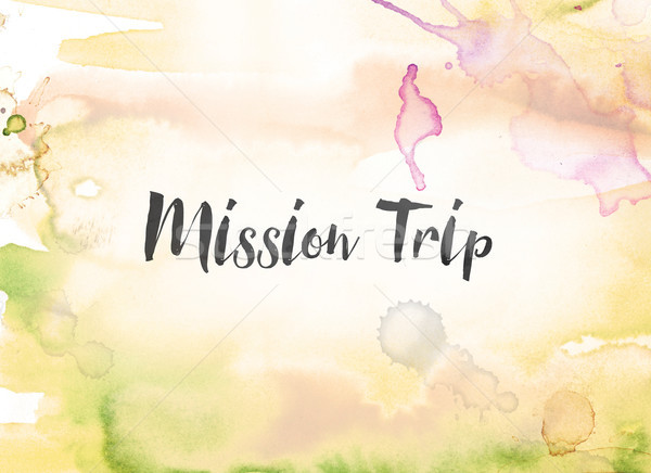 Mission Trip Concept Watercolor and Ink Painting Stock photo © enterlinedesign