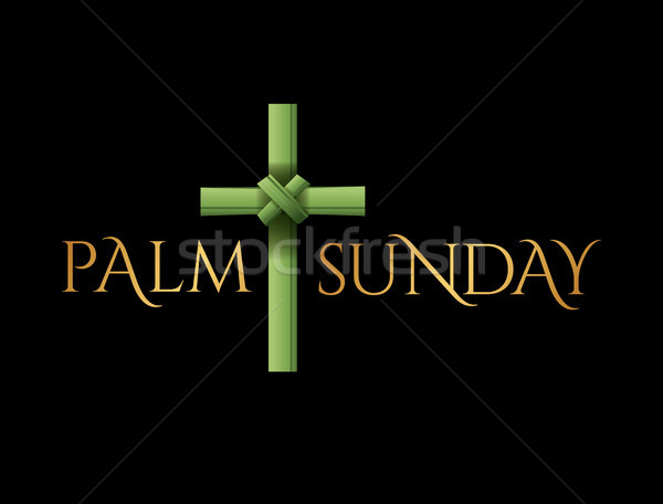 Christian Palm Sunday Cross Theme Illustration Stock photo © enterlinedesign