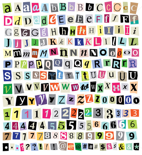 Stock photo: Vector Ransom Note- Cut Paper Letters, Numbers, Symbols