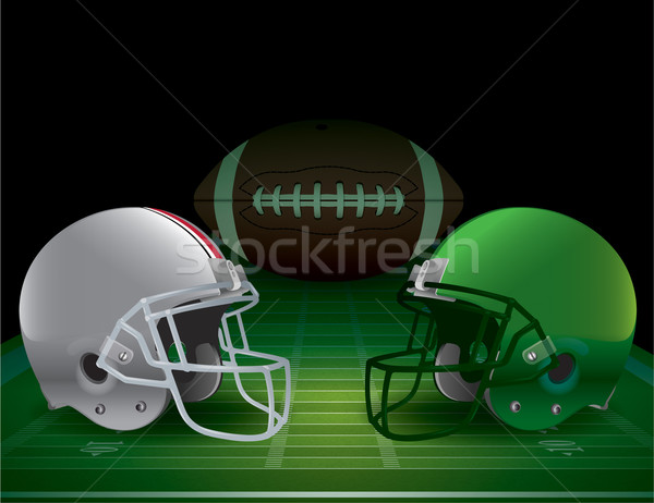 Americano fútbol campeonato campo de fútbol cascos pelota Foto stock © enterlinedesign