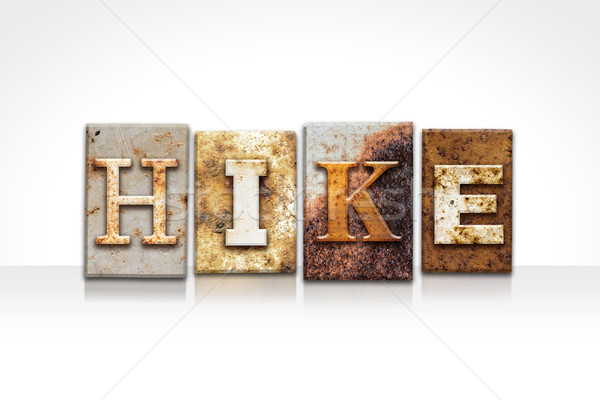 Hike Letterpress Concept Isolated on White Stock photo © enterlinedesign