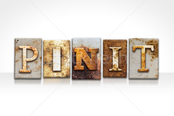 Pin It Letterpress Concept Isolated on White Stock photo © enterlinedesign