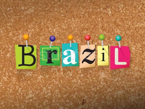 Brazil Concept Pinned Letters Illustration Stock photo © enterlinedesign