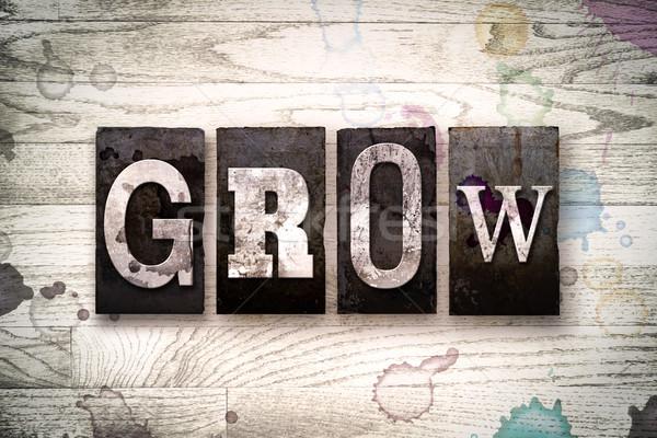 Grow Concept Metal Letterpress Type Stock photo © enterlinedesign