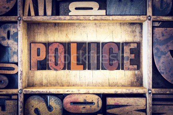 Policía tipo palabra escrito vintage Foto stock © enterlinedesign