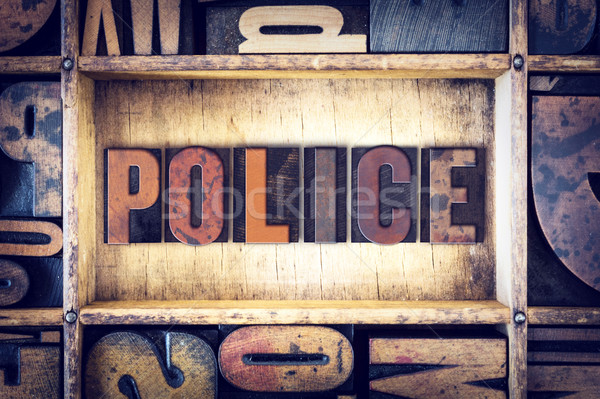 Politie type woord geschreven vintage Stockfoto © enterlinedesign