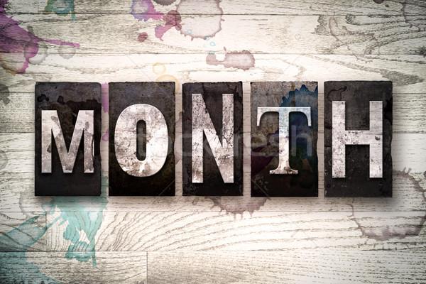Hónap fém magasnyomás szó írott Stock fotó © enterlinedesign