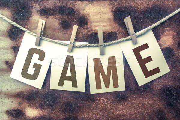 Játék kártyák zsinór szó öreg darab Stock fotó © enterlinedesign