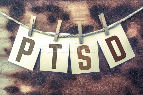 PTSD Concept Pinned Stamped Cards on Twine Theme Stock photo © enterlinedesign