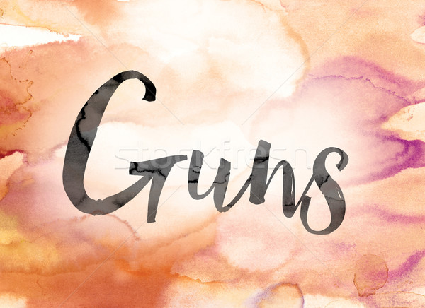 Guns Colorful Watercolor and Ink Word Art Stock photo © enterlinedesign
