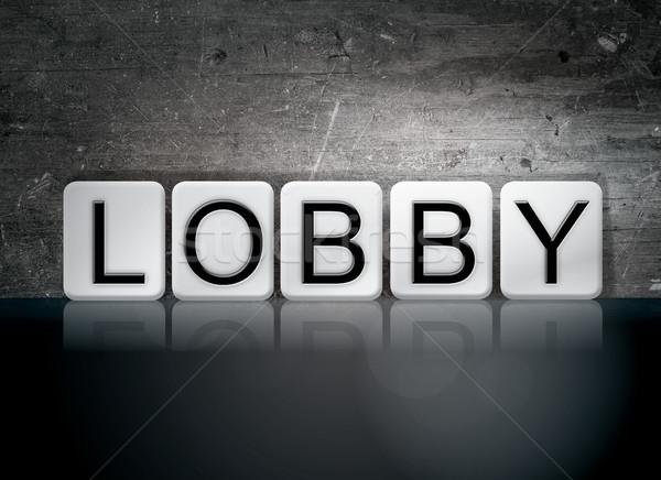 Lobbi csempézett levelek szó írott fehér Stock fotó © enterlinedesign