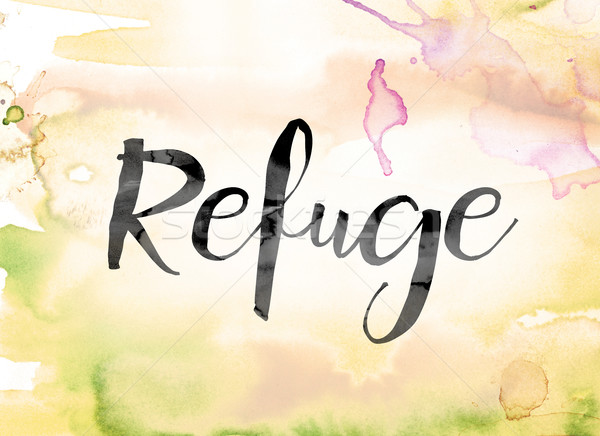 Refuge Colorful Watercolor and Ink Word Art Stock photo © enterlinedesign