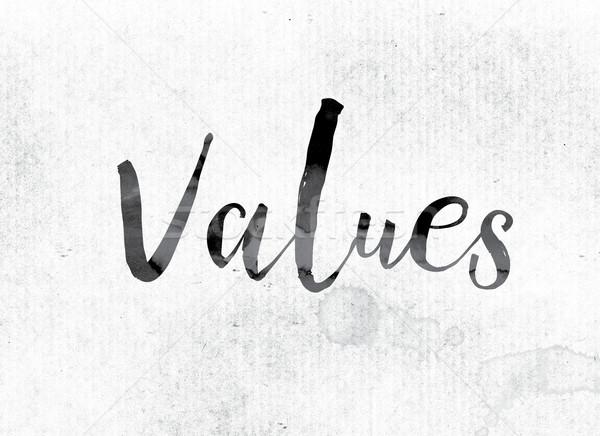 Wartości malowany atramentu słowo akwarela biały Zdjęcia stock © enterlinedesign