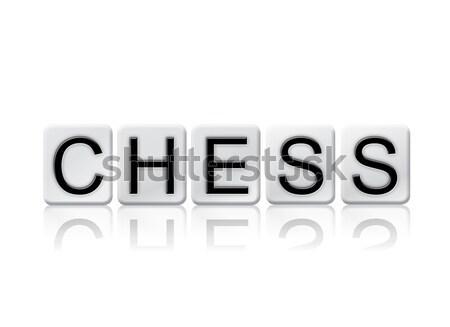 Ajedrez azulejos palabra aislado blanco escrito Foto stock © enterlinedesign