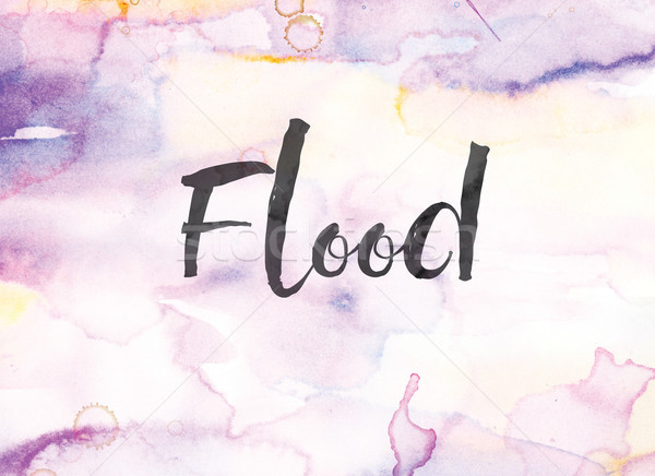 Flood Concept Watercolor and Ink Painting Stock photo © enterlinedesign