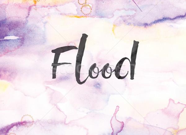 Sel suluboya mürekkep boyama kelime yazılı Stok fotoğraf © enterlinedesign