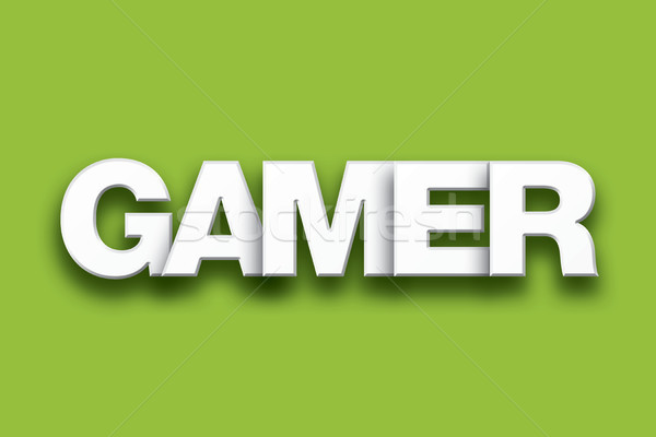 Gamer Theme Word Art on Colorful Background Stock photo © enterlinedesign