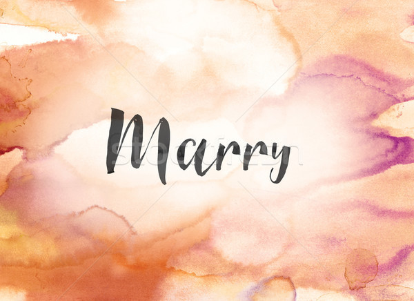 Marry Concept Watercolor and Ink Painting Stock photo © enterlinedesign