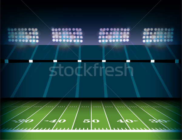 Amerikaanse voetbal stadion veld illustratie voetbalveld Stockfoto © enterlinedesign