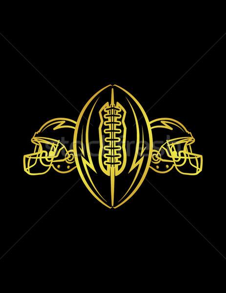 Amerykański piłka nożna kaski piłka ilustracja złoty Zdjęcia stock © enterlinedesign