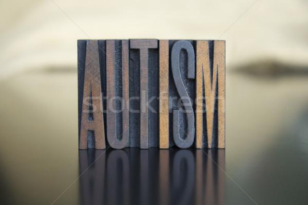 Autismus Wort geschrieben Jahrgang Buchdruck Typ Stock foto © enterlinedesign