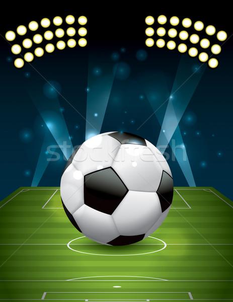 Vector Football - Soccer Ball on Textured Field Stock photo © enterlinedesign
