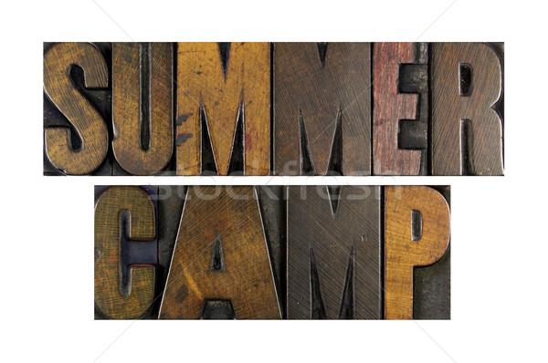 Yaz kampı sözler yazılı bağbozumu tip Stok fotoğraf © enterlinedesign