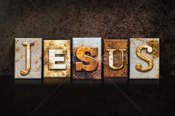 Jezusa ciemne nazwa napisany zardzewiałe Zdjęcia stock © enterlinedesign