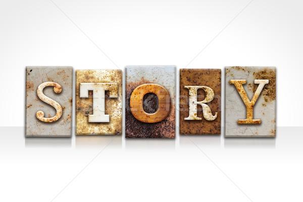 Történet magasnyomás izolált fehér szó írott Stock fotó © enterlinedesign