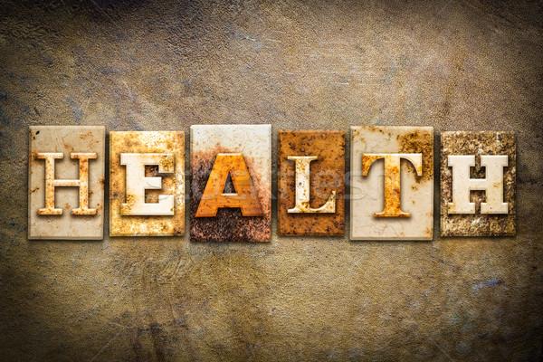 Health Concept Letterpress Leather Theme Stock photo © enterlinedesign
