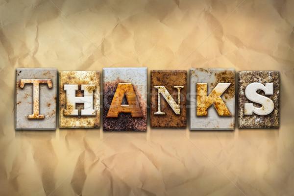 Remerciements métal type mot écrit Photo stock © enterlinedesign