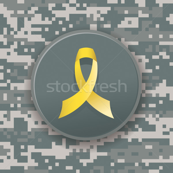 Yellow Military Ribbon on Digital Camouflage Stock photo © enterlinedesign