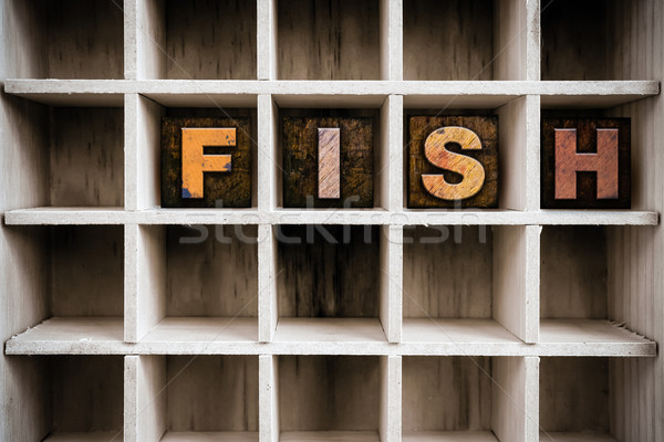 Fish Concept Wooden Letterpress Type in Draw Stock photo © enterlinedesign
