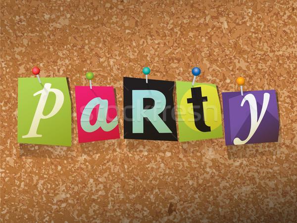 Parti kâğıt örnek kelime yazılı kesmek Stok fotoğraf © enterlinedesign