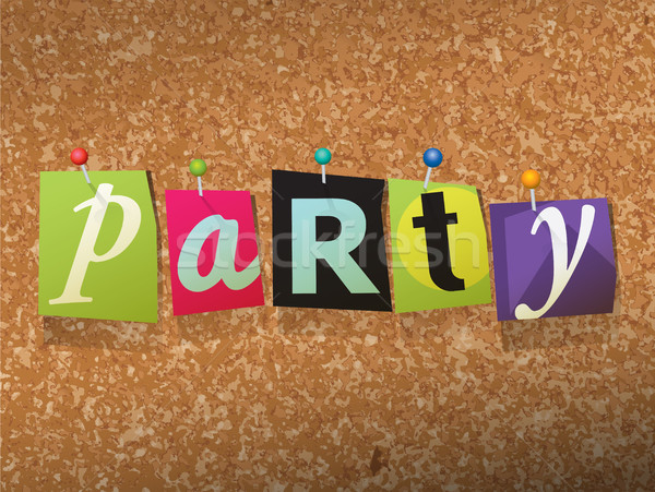 Partij papier illustratie woord geschreven gesneden Stockfoto © enterlinedesign