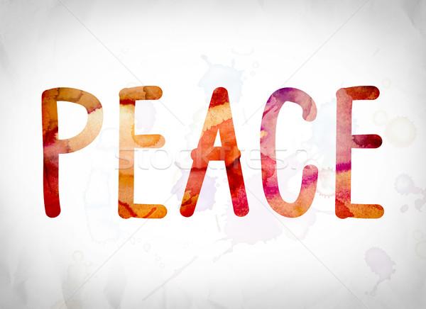 Pace acquerello parola arte scritto bianco Foto d'archivio © enterlinedesign