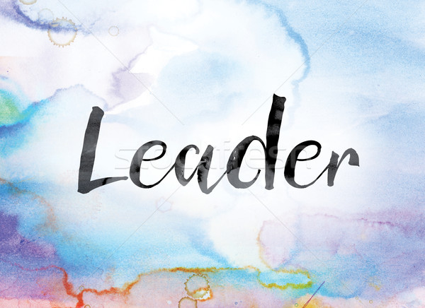 Leader Colorful Watercolor and Ink Word Art Stock photo © enterlinedesign