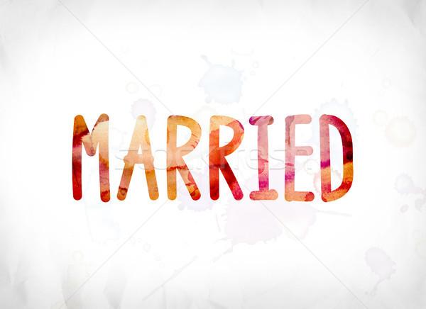 Sposato verniciato acquerello parola arte colorato Foto d'archivio © enterlinedesign