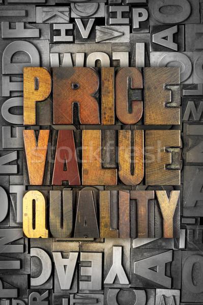 ár érték minőség szavak írott klasszikus Stock fotó © enterlinedesign