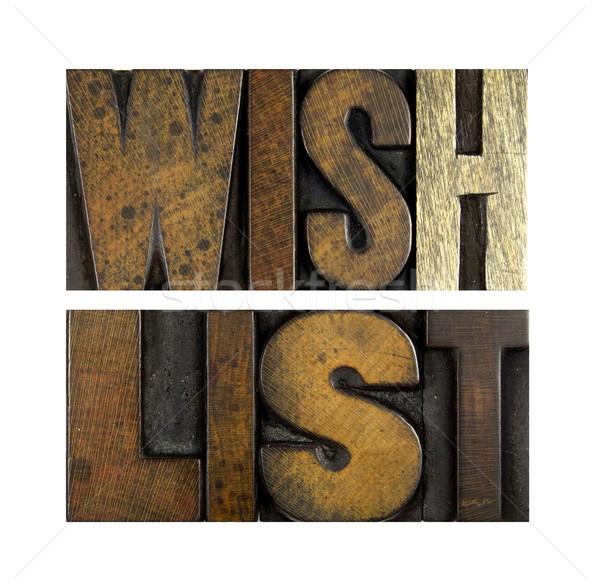 Kívánság lista szavak írott klasszikus magasnyomás Stock fotó © enterlinedesign
