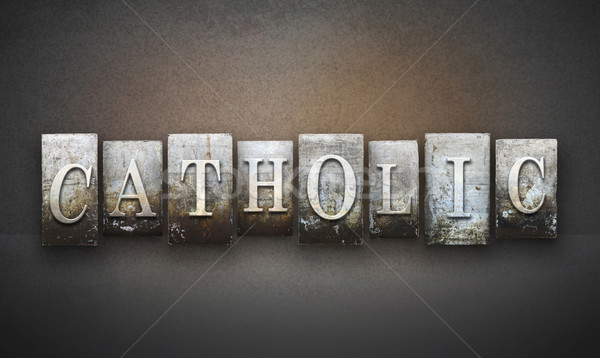 Catholique mot écrit vintage type Photo stock © enterlinedesign