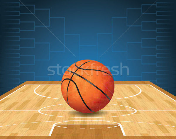 Basketball Court and Ball Tournament Illustration Stock photo © enterlinedesign