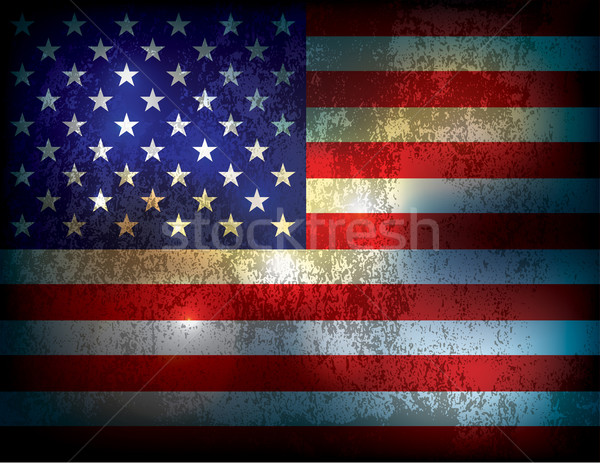 Grunge Distressed American Flag Illustration Stock photo © enterlinedesign