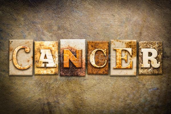Cancro pelle parola scritto arrugginito Foto d'archivio © enterlinedesign