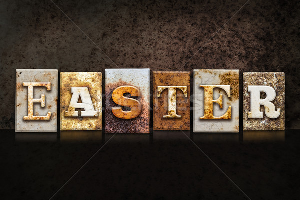 Easter Letterpress Concept on Dark Background Stock photo © enterlinedesign