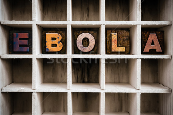 Ebola Concept Wooden Letterpress Type in Draw Stock photo © enterlinedesign