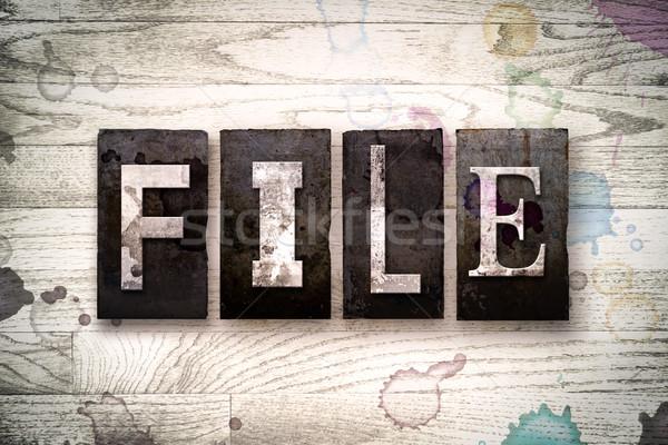 File Concept Metal Letterpress Type Stock photo © enterlinedesign
