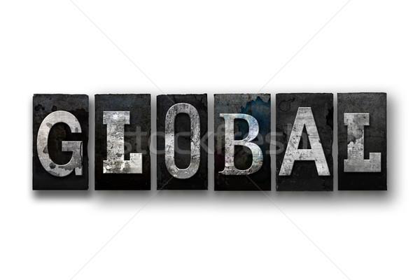 Globale geïsoleerd type woord geschreven Stockfoto © enterlinedesign